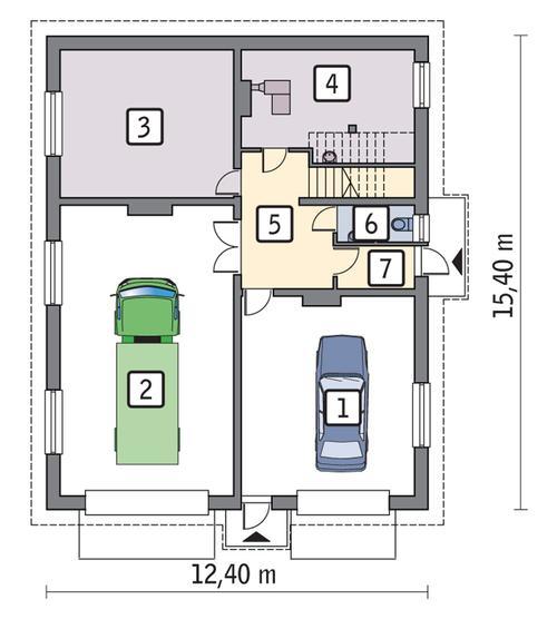 Rzut parteru POW. 152,2 m²