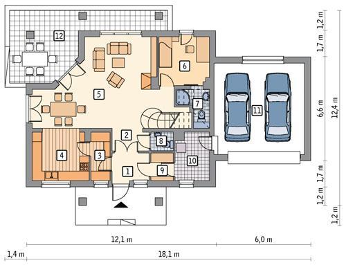 Rzut parteru POW. 113,6 m²