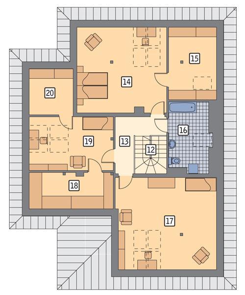 Rzut poddasza POW. 135,9 m²