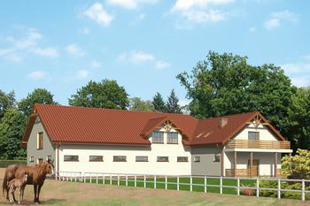 Stajnia dla 16 koni z częścią mieszkalną-rekreacyjną i poddaszem gospodarczym