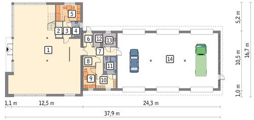 Rzut parteru POW. 406,3 m²