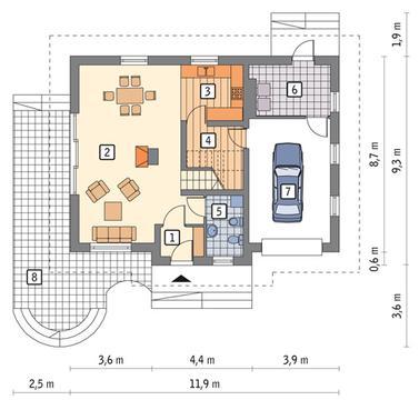 RZUT PARTERU POW. 53,3 m²