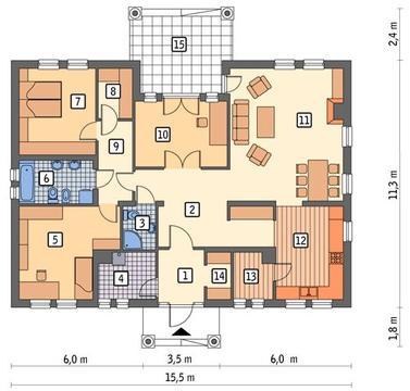 RZUT PARTERU POW. 131,0 m²